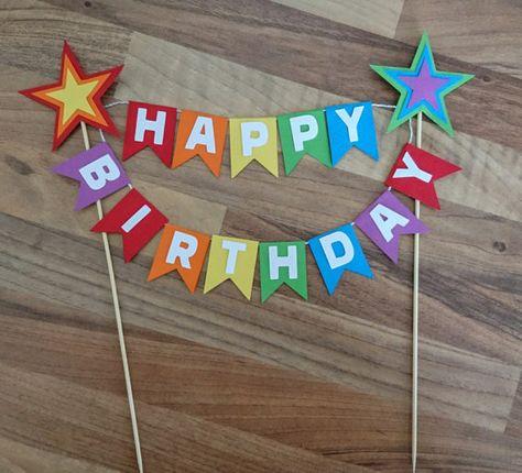Rainbow Cake Topper, Rainbow Star cake Bunting, Rainbow Happy birthday, First birthday, Flag bunting