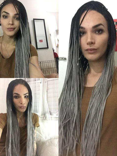 Braided Box Braid lace Front Wig Black & by CherieHairExtensions Braided Box Braid lace Front Wig Black & Grey Ombre Dip Dye Balayage - Hot Exclusive All Lengths REAL CUSTOMER PHOTOS! https://www.etsy.com/uk/listing/279362542/braided-box-braid-lace-front-wig-black #greyombre #ombrehair #braids #hairofinstagram