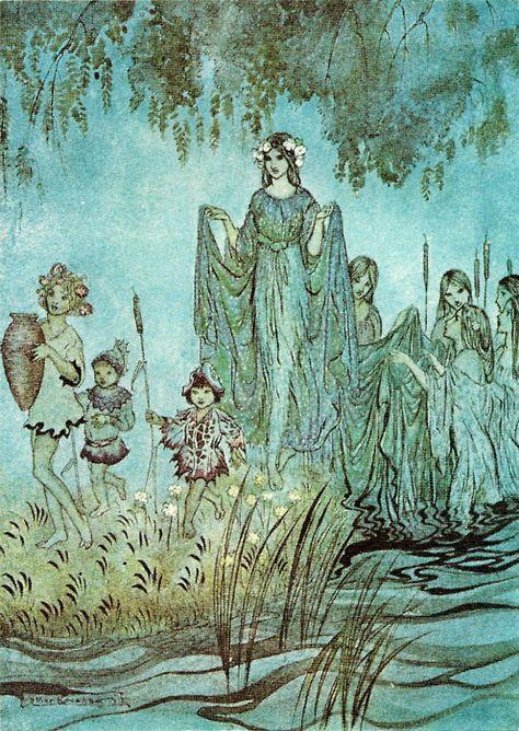 enchantingimagery: Sabrina rises, attended by water-Nymphs. An Arthur Rackham illustration for John Milton's Comus. Arthur Rackham, Art And Illustration, Art Illustrations, Watercolor Illustration, Fantasy Kunst, Fantasy Art, Edmund Dulac, Water Nymphs, Fairytale Art