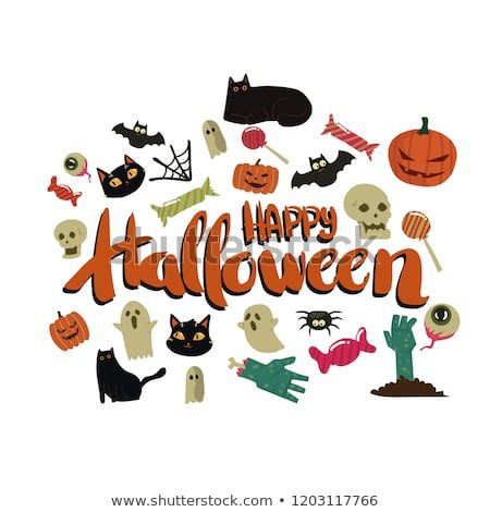 Happy Halloween Card Template Design With Cute Simple Cartoon Style Simple Cartoon Cartoon Styles Happy Halloween