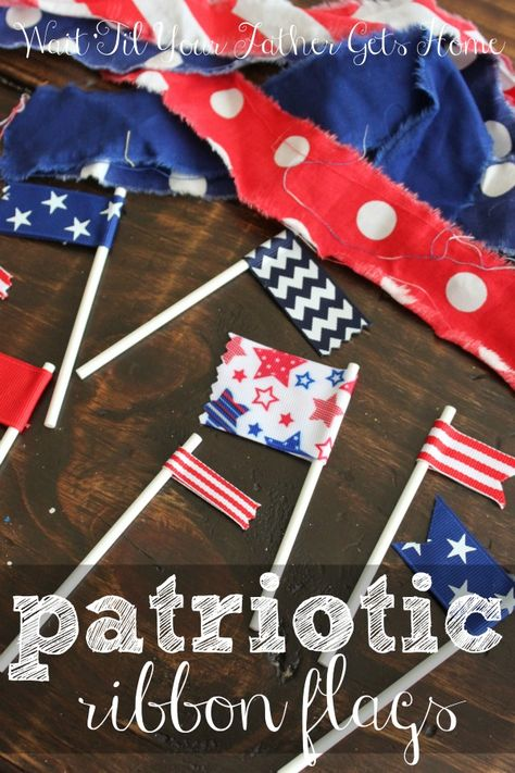 Patriotic Ribbon Flags make the perfect dessert accessory this Memorial Day, 4th of July, or Labor Day from Wait Til Your Father Gets Home! #ribbonflags #dessert flags #ribbon
