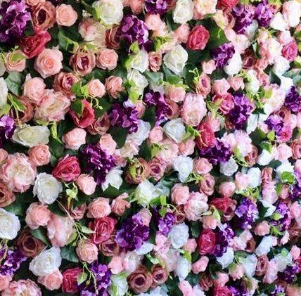 Flower Backdrop Flower Panel Purple Pink And White Artificial Flower Wall Silk Flowers Photography Bac In 2020 Flower Wall Wedding Artificial Flowers Flower Panels