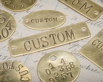 Custom Hand Punched Brass And Metal Tag Hand Stamped Key Tag Key Fob Pet Tag Custom Engraved Tag Hotel Key Metal Tags Brass Tags Hand Stamped Metal