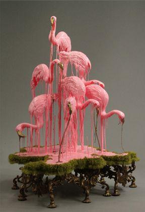 Sarah Knouse: Sculptress extraordinaire: a pile of melty flamingos!