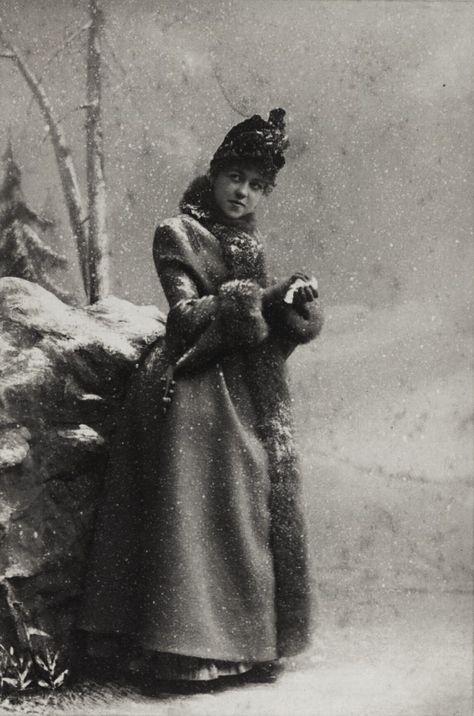 Miss Emma Nevada packing a snowball. New York City, 1883-1890.