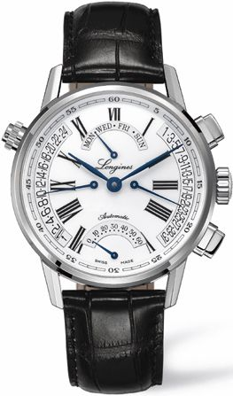L4.797.4.71.2 NEW LONGINES HERITAGE RETROGRADE MENS WATCH    Usually ships within 8 weeks - FREE Overnight Shipping - NO SALES TAX (Outside California) - WITH MANUFACTURER SERIAL NUMBERS- White Dial- Day/Date Feature- GMT Second Time Zone Feature  - Self Winding Automatic Movement- 3 Year Warranty- Guaranteed Authentic- Certificate of Authenticity- Stainless Steel Case- Black Leather Strap with Crocodile Pattern- Scratch Resistant Sapphire Crystal- Manufacturer Box