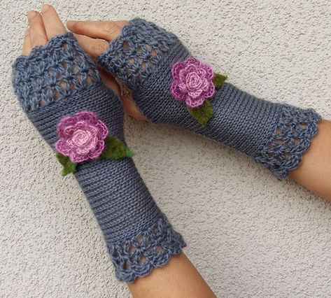 Handschuhe Fingerlos Schwarz warm Winter Handstulpen Pulswärmer Strickstulpen