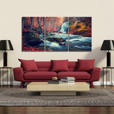 Chic Home Autumn Forest 3 Piece Set Wrapped Canvas Wall Art Walmart Com In 2020 Forest Wall Art Autumn Forest Wall Art Prints