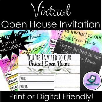 Virtual Open House Meet The Teacher Invitation Print Or Digital Editable Meet The Teacher Open House Invitation Open House