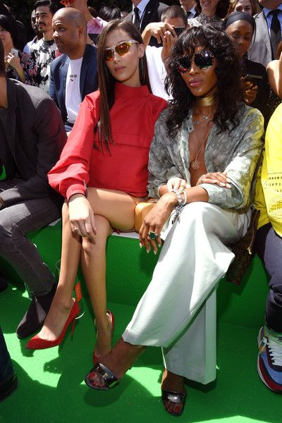 Bella Hadid and Naomi Campbell attend the Louis Vuitton Menswear Spring/Summer 2019 show as part of Paris Fashion Week.