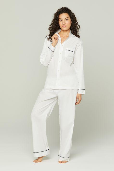 Ensemble européen de pyjamas à tuyaux de coton - Blanc avec la tuyauterie de marine / XS / Coton