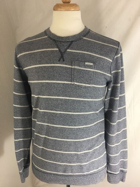 Sweaters Sonoma Life and Style Mens cotton crew sweater gray stripe Sz Large NEW Clothing