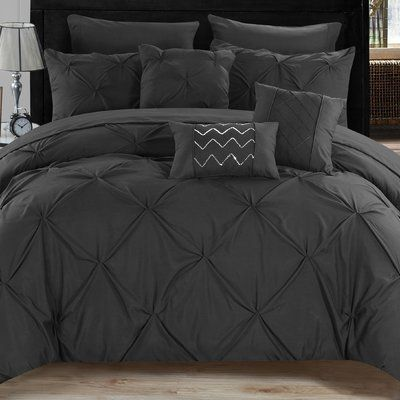 House Of Hampton Elysant Comforter Set Comforter Sets Black And Grey Bedroom Grey Comforter Bedroom