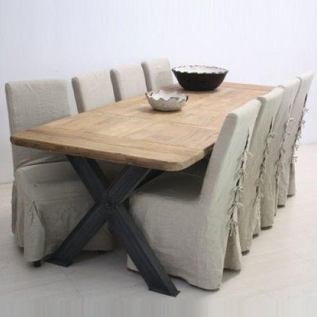 Tavolo legno naturale base ferro - Etnico Outlet mobili ...