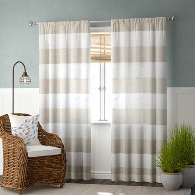 Beachcrest Home Plant City Striped Sheer Rod Pocket Curtain Panels