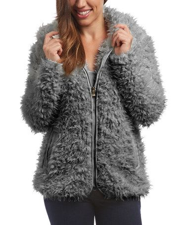 Love this Gray Faux Fur Zip-Up Jacket - Plus on #zulily! #zulilyfinds