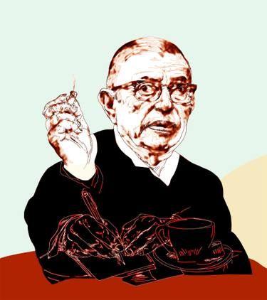 Jean Paul Sartre Portrait Limited Edition 5 Of 5 Art Print