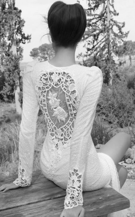 Beautiful cut out back with roses wedding gown...Inbal Dror 2013 Wedding Dress