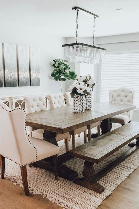 Get inspired by these farmhouse dining room ideas including country style, formal dining and modern farmhouse with bench seating and other farmhouse seating ideas. - Home Decor - Home Style And Farmhouse Dining Room Table, Dining Room Table Decor, Country Dining Rooms, Dining Room Design, Dining Room Furniture, Dinning Room Ideas, Seating Room Ideas, Farm House Dinning Room, Formal Dining Rooms