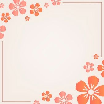 Download Orange Floral Frame For Free Flower Border Vector Flowers Cherry Blossom Background