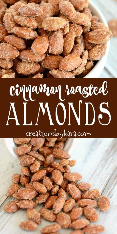 Easy Cinnamon Roasted Almonds are always a favorite snack! Everyone loves these sweet and crunchy cinnamon almonds.. #almonds #snacks #cinnamon #roastedalmonds #cinnamonroastedalmonds #cinnamonalmonds #creationsbykara