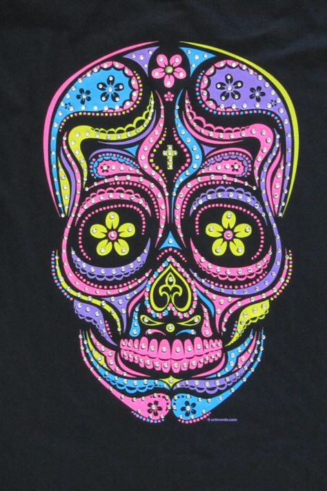 Like a little bling with your neon? Than this is the perfect Sugar Skull for you. This has it all. Black light colors, rhinestones and a Day of the Dead Sugar Skull. Image is on the front while the back of the shirt is solid black. Also available as a T-shirt. The choice is yours!! - 5.3 oz - preshrunk 100% heavy duty cotton tees - Screen Printed Image - Unisex sizes Tank Top Size Chart - Available in Black - Ships in 1 to 2 working days