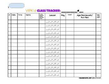 VIPKid Class Tracker- 15 per page | VIPKid | Vip kid, Kids