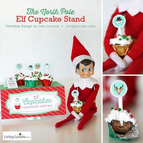 Surprise your kids with a gift from their Christmas Elf with the original Elf Cupcake Stand from the North Pole! Printables for the magical shelf.