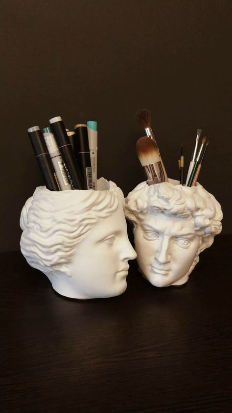 David & Venera Antique Pen Holder Head Office organizer Candle holder Brush holder Pencil holder Desk storage Cup for pens – Business marketing design My New Room, My Room, Brush Texture, Pen Holders, Candle Holders, Lettering For Beginners, Objets Antiques, Head Planters, Aesthetic Room Decor