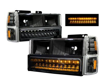1996 Chevy Tahoe Black Headlights And Led Bumper Lights Chevy Tahoe Black Headlights Chevy