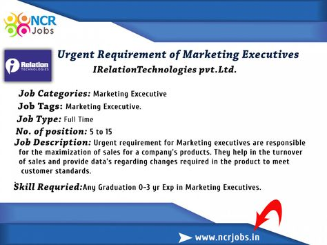 Great Opportunity for fresher Urgent #Requirement of #Marketing - sales marketing executive job description