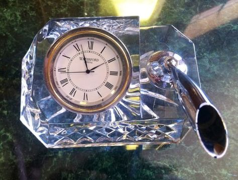 Pin By Paul Cannon On Antiques Collectibles Waterford Crystal Desk Clock Pen Holders
