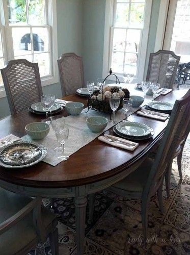 Furniture Cute Distressed Black Dining Table And Chairs from The