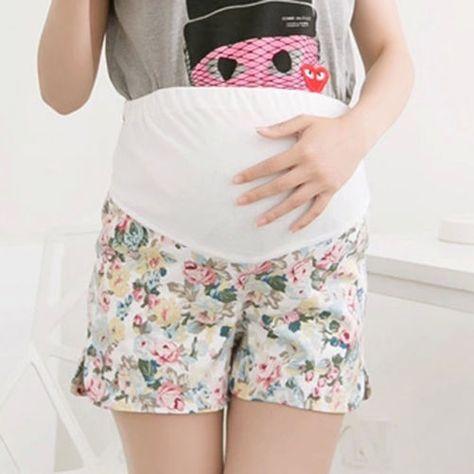 25cf1fc4eb618 Hot Ladies Maternity Shorts Loose Over Bump Hot Pants Comfort Floral Short  Pants