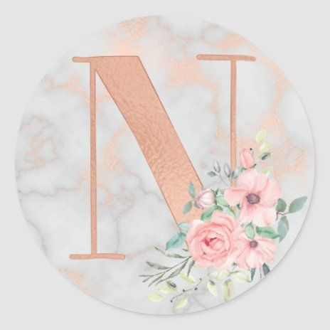 Rose Gold Marble Pink Flowers Monogram Letter N Classic Round Stickers Zazzle Pink Wallpaper Girly Monogram Wallpaper Rose Gold Logo