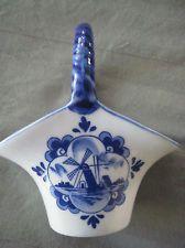 Blue Delft Miniature Porcelain Shoe Holland Folk Art Miniature collectibles Blue Windmill Hand Painted