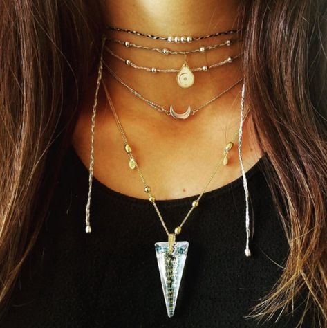 Catherine Popesco Boho Aqua /& Goldtone Beaded Tan Cord Light Grey Opalescent Orb Pendant Necklace