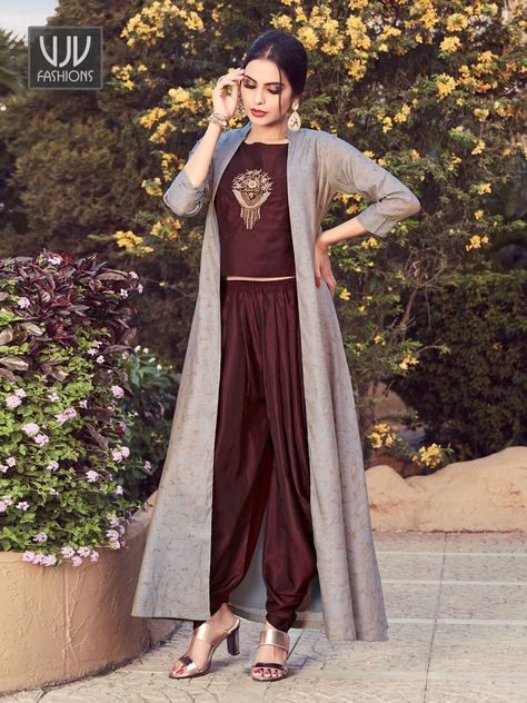 Elegante marrom e cinza Maslin Designer Patiala Dhoti Salwar Suit Fashion for everything in style ethnic and non ethnic. Pants shirts dresses bags shoes jewellery so much