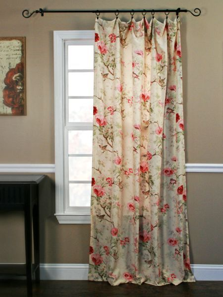 Birdsong Blooms Rod Pocket Curtain Panel No Sew Curtains Living