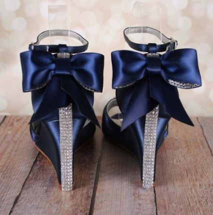 Wedding Shoes Navy Blue Wedges Bridal Heels Navy Wedges Blue Wedges Bridal Heels Bridal He Blue Bridal Heels Wedding Shoes Wedge Blue Navy Wedding Shoes