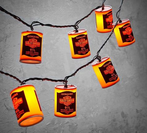 Oil Can Party Lights Harley Davidson Decor Harley Davidson Gifts Harley Davidson