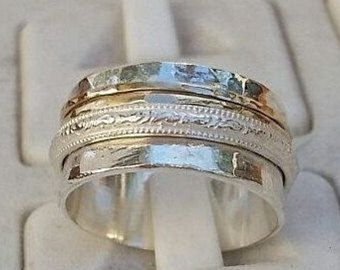 Silver And Gold Spinner Ring Handmade Wedding Band Silver