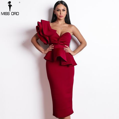 Missord 2019 Women Sexy Bodycon Off Shoulder Bandage Dresses Female Ruffles Backless Elegant Club Dr