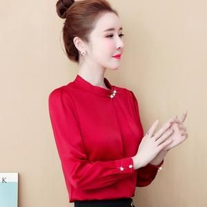 Korean Women Blouses Silk Shirt Elegant Women Satin Blouse Shirts Office Lady Shirt