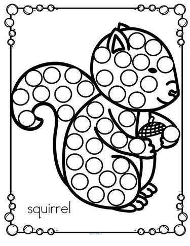 Free Fall Squirrel Dot Marker Activity Fall Preschool Activities