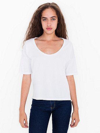 American Apparel Womens Power Wash U-Neck Elbow Sleeve T-Shirt T-Shirt