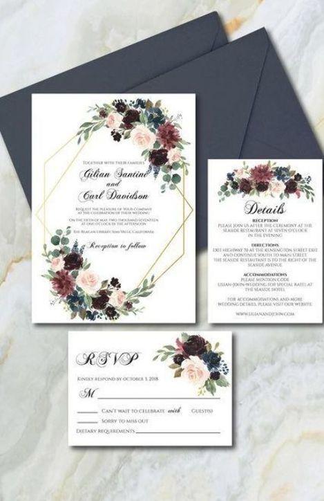 Burgundy And Navy Blue Wedding Invitation Suite Template Wedding Invitation Fully Wedding Invitations Blue Wedding Invitation Suites Beach Wedding Invitations