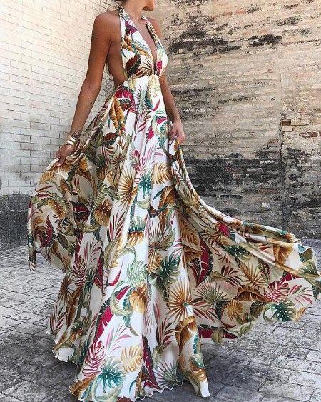 Botanical Print Off Shoulder Mini Dress Maxi Dress Trendy Dresses Summer Fashion