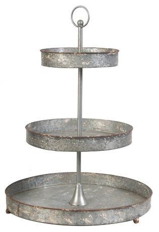 3 Tier Footed Galvanized Metal Tray Stand Metal Tiered Stand Galvanized Metal Trays A B Home