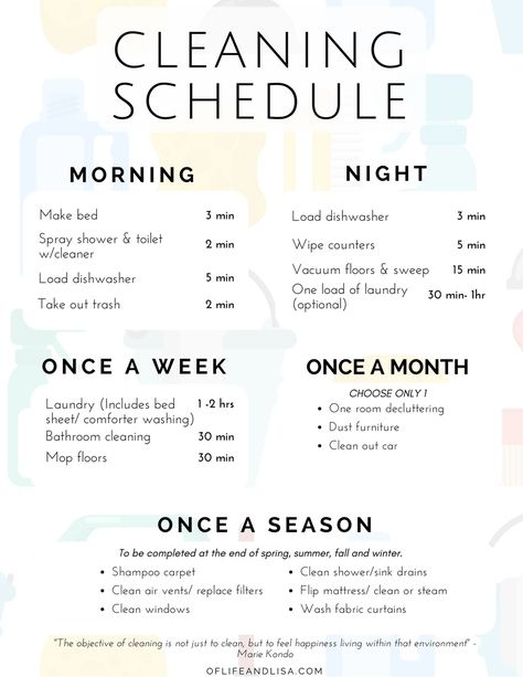 Tips on Creating a Cleaning Schedule ...